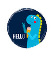 round banner with baby dinosaur vector image vector image