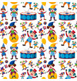seamless background with happy clowns vector image vector image