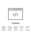 set minimal browser developing app and coding vector image