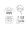 set of 4 logos for catering services hand vector image vector image