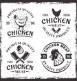 set of four chicken meat emblems labels or badges vector image