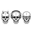set of three different skulls elements vector image