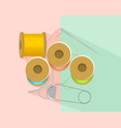 sewing accessories on colored background vector image vector image