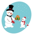snowman gives a new year gift vector image vector image