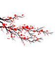 spring blooming red hearts branch vector image