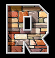 stone letter R vector image vector image