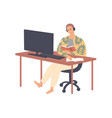 student sits at table in headphones vector image