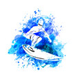 surfer on watercolor background vector image