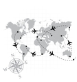 World map with airplanes vector image vector image