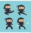 Set of ninja characters showing different actions vector image