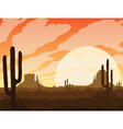 Background of landscape with desert and cactus vector image vector image