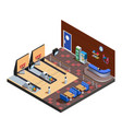 bowling club interior isometric composition vector image vector image