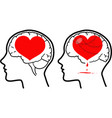 brain and heart concept vector image vector image