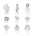 Cactus thin line icon set vector image