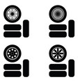 car wheel icon set vector image