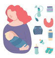cartoon breastfeeding baby signs icon set vector image