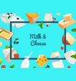 cartoon dairy and cheese products vector image vector image