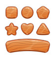 cartoon wooden shapes set vector image vector image