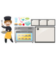 chef and kitchen equipment set vector image vector image