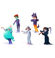 children in halloween costumes carnival vector image