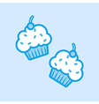 Cupcakes Muffin Icon Simple Blue vector image vector image