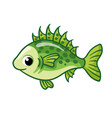 cute ruff fish on a white background in cartoon vector image