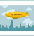 dirigible over city - zeppelin with advertising vector image vector image