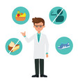 doctor cartoon character with healthy icons vector image