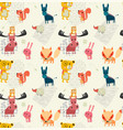 doodle outline cute wild animal pattern seamless vector image