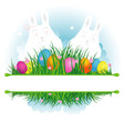 Easter background grass with rabbit vector image