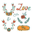 elegant hand drawn collection of graphic elements vector image vector image