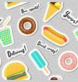 fast food snacks seamless pattern food vector image