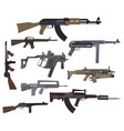 firearm set automatic rifle machine gun flat vector image