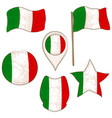 flag of the italy performed in defferent shapes vector image