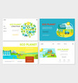 flat ecology websites set vector image vector image