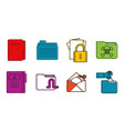 Folder icon set color outline style