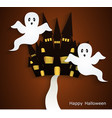 halloween background with scary ghosts vector image
