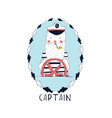 hand drew captain print design with slogan vector image