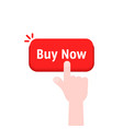 hand press on red buy now button vector image vector image