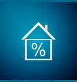 house with discount tag icon on blue background vector image vector image