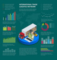 infographics with data icons world map charts vector image