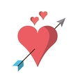 Isolated arrow through heart design vector image vector image