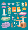 isolated pet care accessory images set with wooden vector image