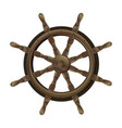 isolated vintage brown wooden steering wheel vector image