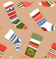 knitted warm socks with different ornaments and vector image