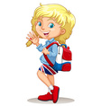 Little girl with backpack waving hand vector image vector image
