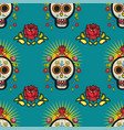 mexican seamless pattern day dead skulls vector image