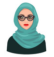 muslim woman avatar isolated on white young vector image