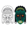 outline and color african mask isolated on white vector image