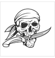 Pirate Skull in Headband with Sword vector image vector image